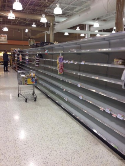The photo that I have shared below was posted to Twitter by Kris Muir.  It shows what the bread aisle at a Kroger in the Atlanta area looked like as the storm approached...