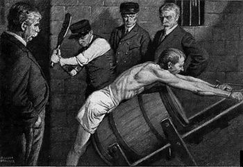 1912 illustration of an inmate being punished in an American prison - Image Courtesy of wiktionary.org