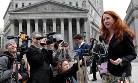 Activist and reporter Tangerine Bolen, a plaintiff in the case against the NDAA, speaking to the media after a New York judge enjoined section 2012 of the law. Photograph via Fromthetrenchesworldreport