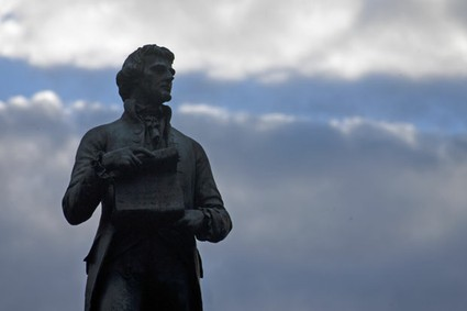 A statue of Thomas Jefferson overlooks the Charlottesville, Va., campus of the University of Virginia.